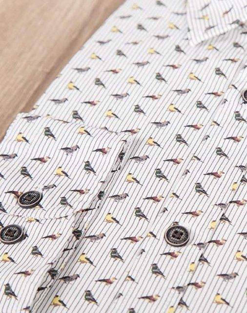 Męska koszula wzorzysta z długim rękawem.