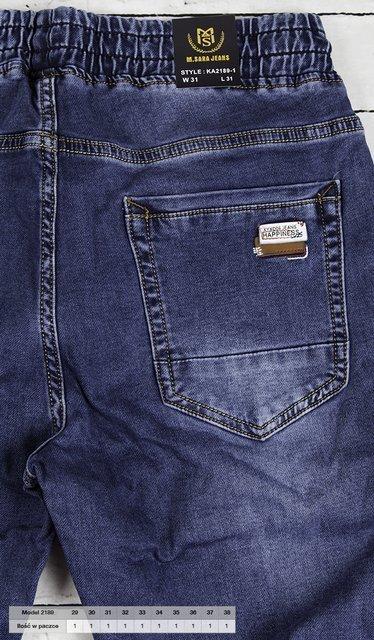 Męskie spodnie jeansowe, klasyczne typu jogger.