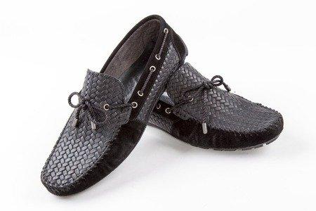 Mokasyny / buty skórzane plecione - czarne