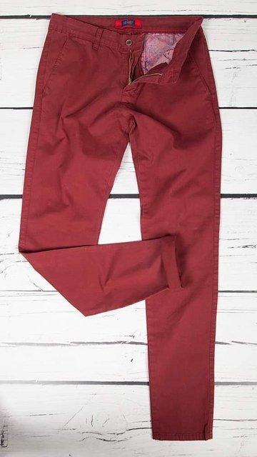 Spodnie materiałowe, męskie chinosy 7647 bordowe