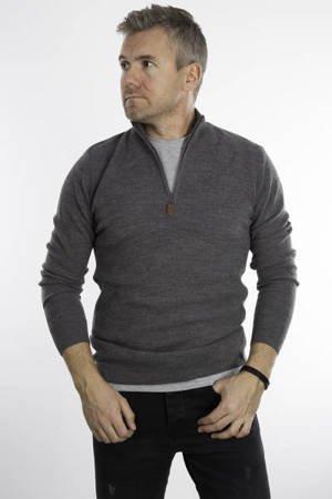 Sweter męski klasyczny z półzamkiem 5237 Antracytowym