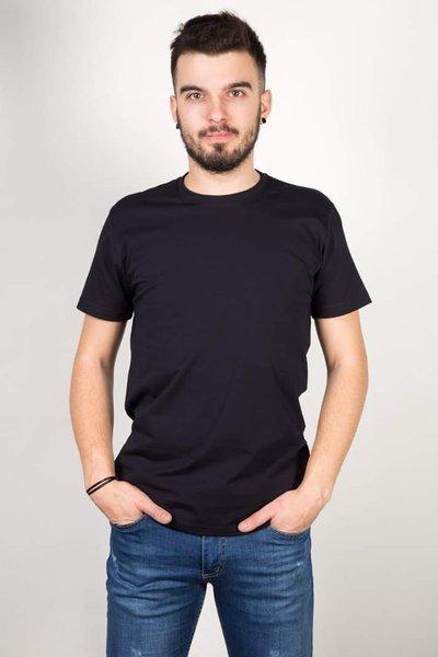 T-Shirt męski, gładki-granatowy